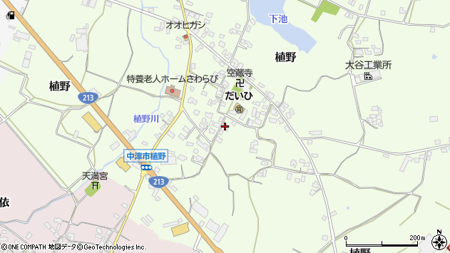 大分県中津市植野309周辺の地図