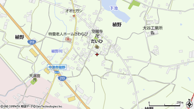 大分県中津市植野311周辺の地図