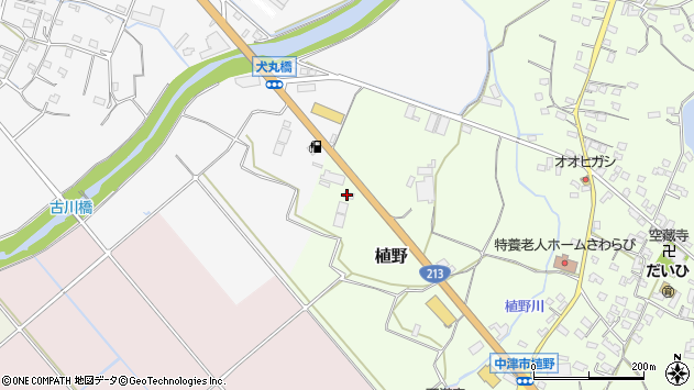 大分県中津市植野21周辺の地図