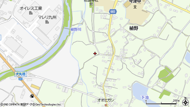 大分県中津市植野1400周辺の地図
