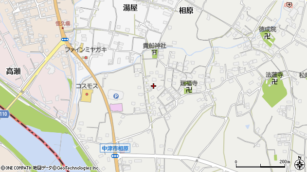大分県中津市相原3639周辺の地図