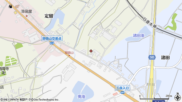 大分県中津市定留1周辺の地図