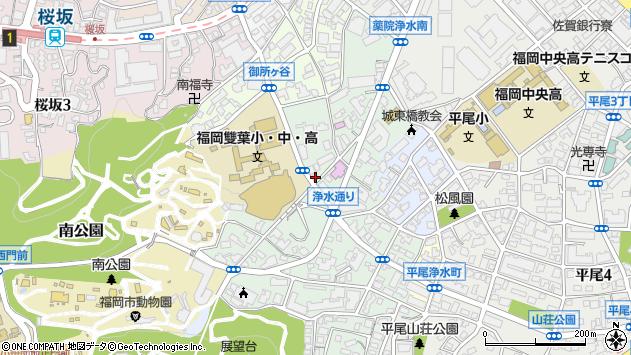 福岡県福岡市中央区浄水通6-19周辺の地図