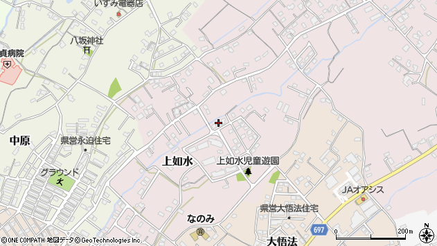 大分県中津市上如水966周辺の地図