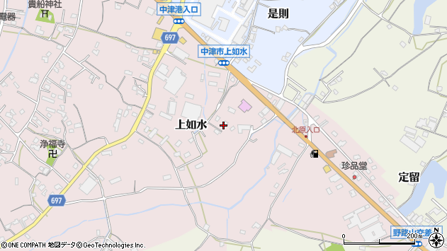 大分県中津市上如水1428周辺の地図