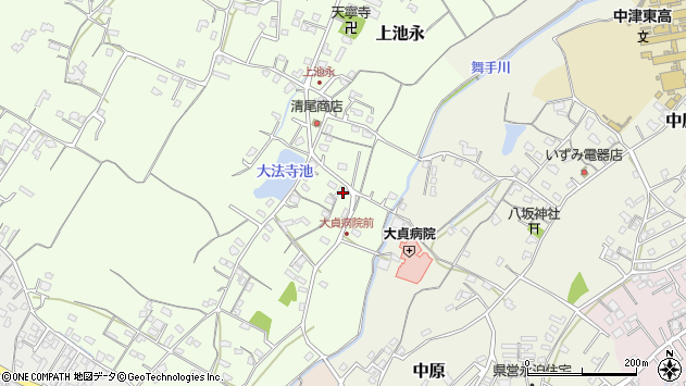 大分県中津市上池永156周辺の地図