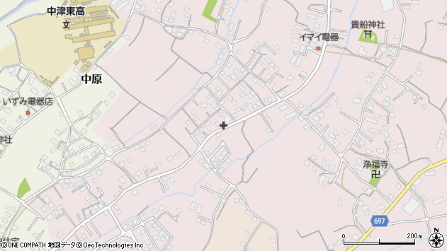 大分県中津市上如水569周辺の地図