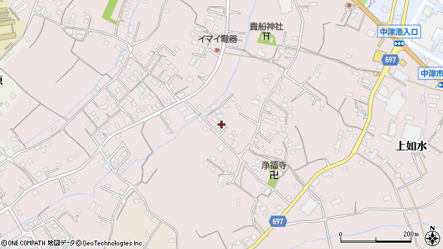 大分県中津市上如水865周辺の地図