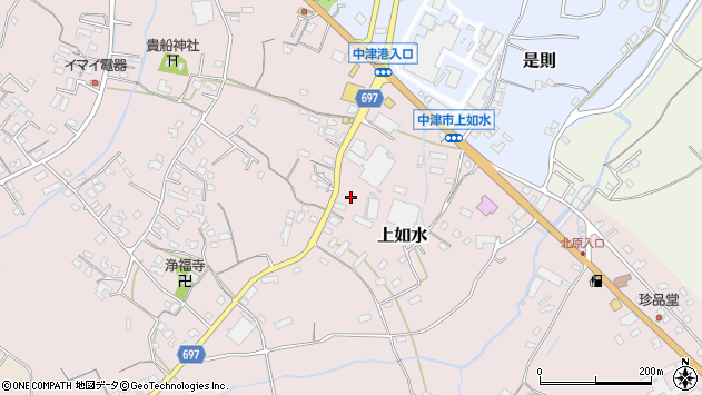 大分県中津市上如水1358周辺の地図