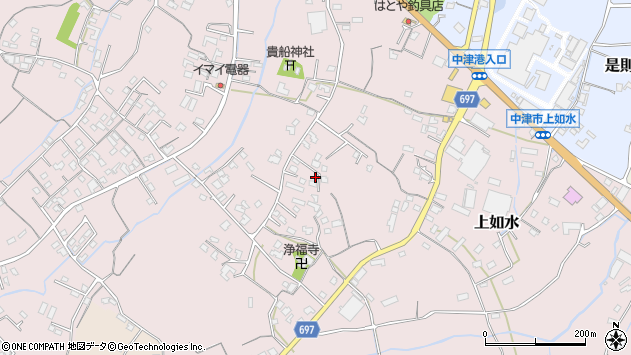 大分県中津市上如水1172周辺の地図