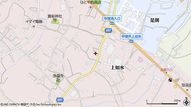 大分県中津市上如水1365周辺の地図