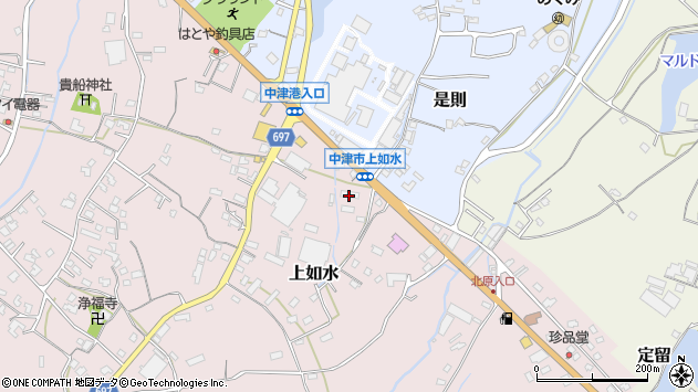 大分県中津市上如水1331周辺の地図