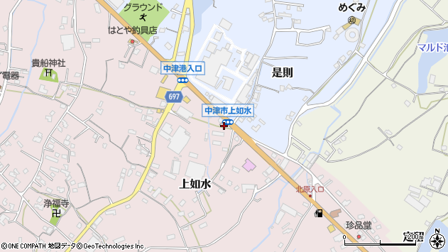 大分県中津市上如水1407周辺の地図