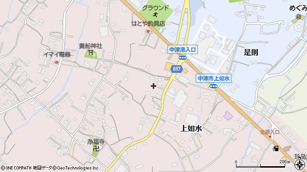 大分県中津市上如水1284周辺の地図