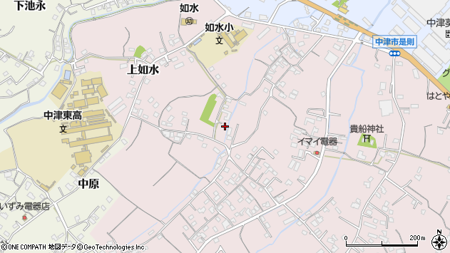 大分県中津市上如水341周辺の地図