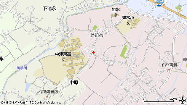大分県中津市上如水155周辺の地図