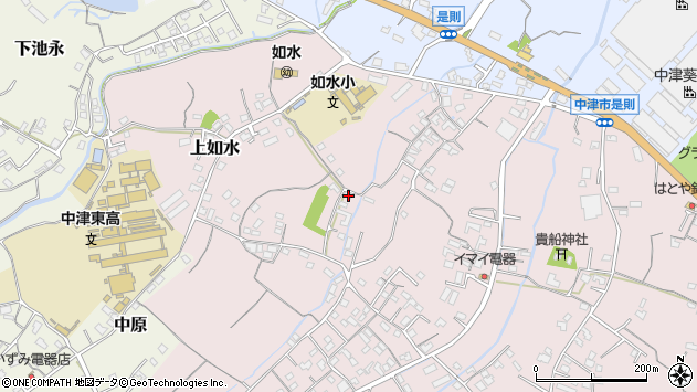 大分県中津市上如水344周辺の地図