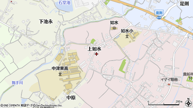 大分県中津市上如水136周辺の地図