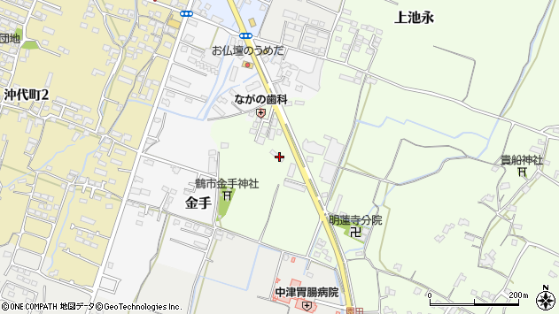 大分県中津市上池永1270周辺の地図