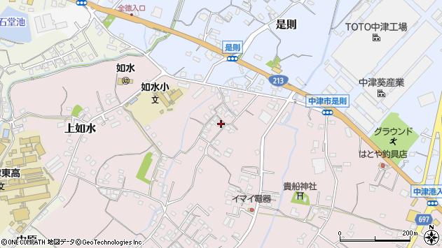 大分県中津市上如水374周辺の地図