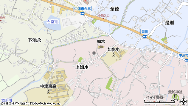 大分県中津市上如水68周辺の地図