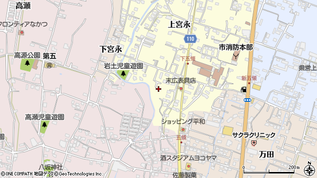 大分県中津市上宮永986周辺の地図