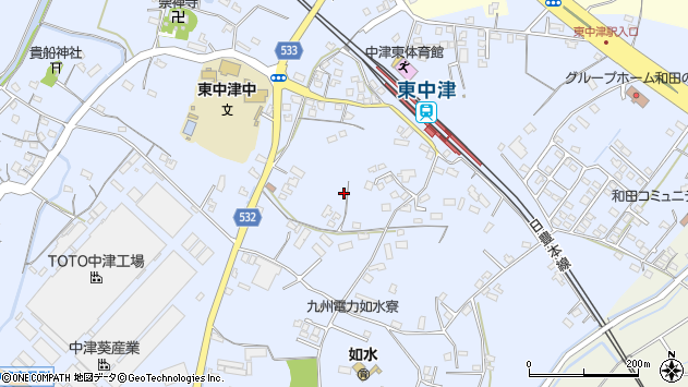 大分県中津市是則982周辺の地図