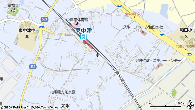 大分県中津市是則1294周辺の地図