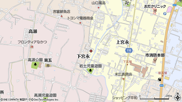 大分県中津市上宮永1290周辺の地図