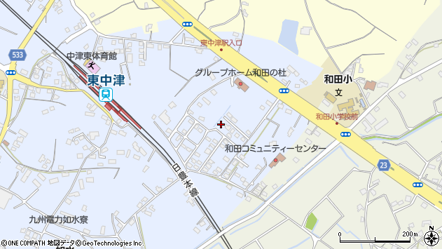 大分県中津市是則1373周辺の地図