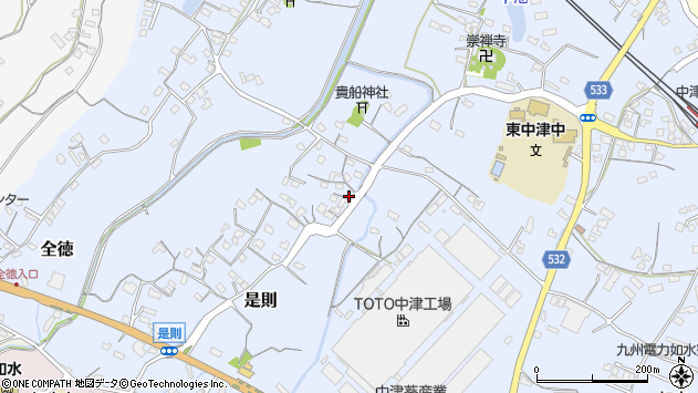 大分県中津市是則236周辺の地図