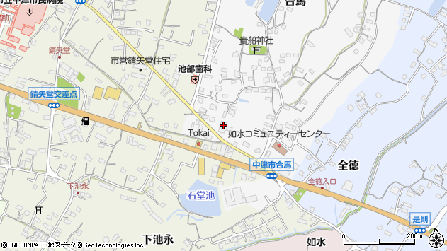大分県中津市合馬464周辺の地図