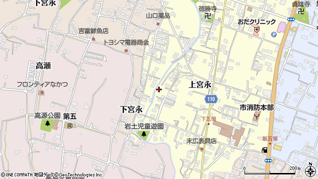 大分県中津市上宮永1019周辺の地図