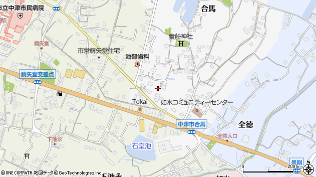 大分県中津市合馬周辺の地図