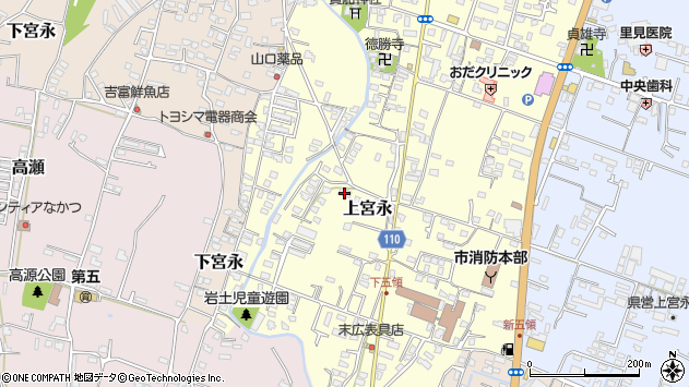 大分県中津市上宮永1025周辺の地図