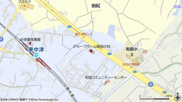 大分県中津市是則1371周辺の地図