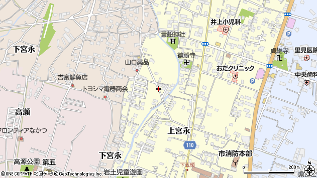 大分県中津市上宮永1240周辺の地図