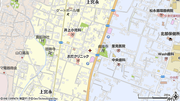 大分県中津市上宮永255周辺の地図