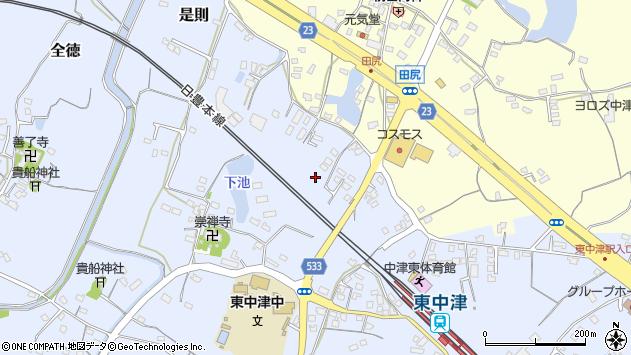 大分県中津市是則465周辺の地図
