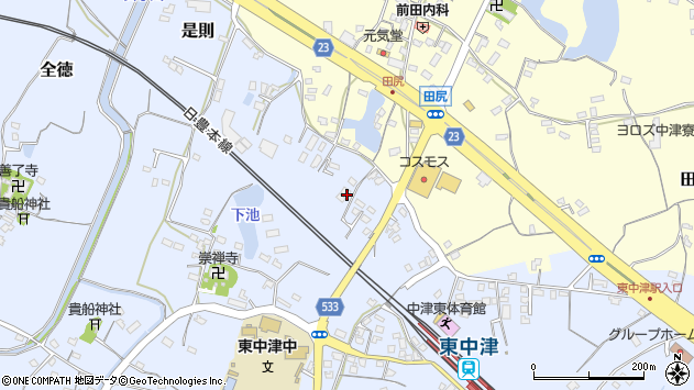 大分県中津市是則467周辺の地図