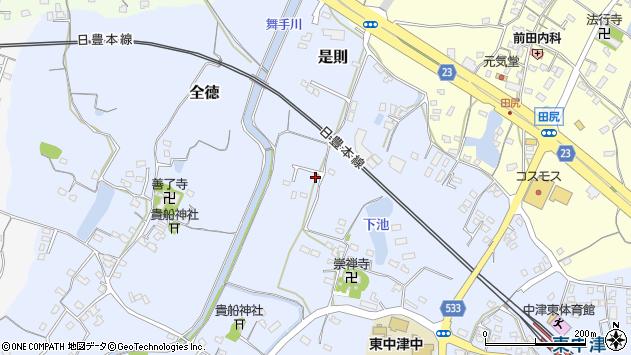 大分県中津市是則303周辺の地図
