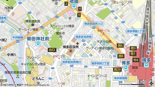福岡県福岡市博多区周辺の地図