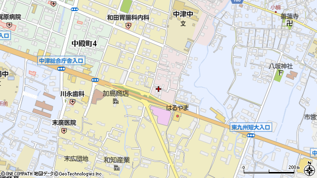 大分県中津市牛神665周辺の地図