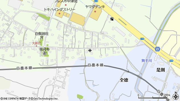大分県中津市大新田1016周辺の地図