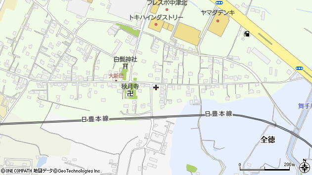 大分県中津市大新田998周辺の地図