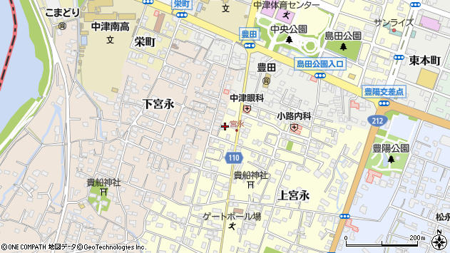 大分県中津市上宮永56周辺の地図