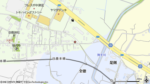 大分県中津市大新田639周辺の地図