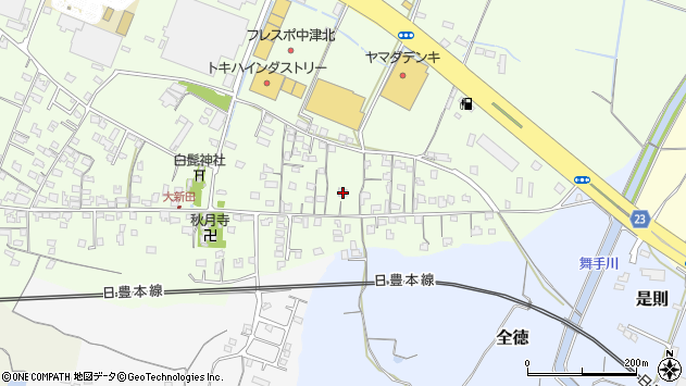 大分県中津市大新田681周辺の地図