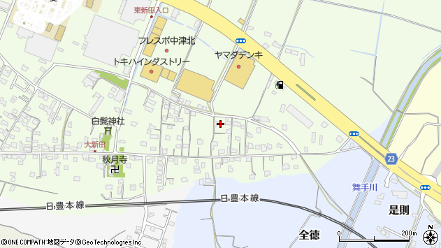 大分県中津市大新田671周辺の地図