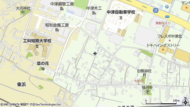 大分県中津市大新田836周辺の地図